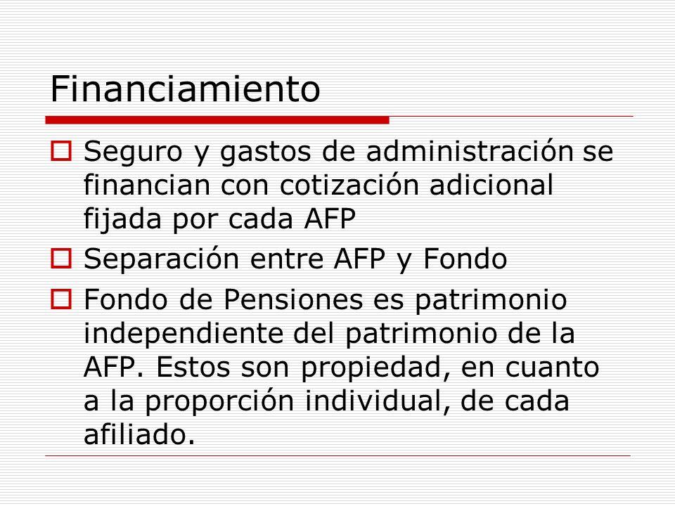 Financiamiento Seguro y gastos de administración se financian con cotización adicional fijada por cada AFP Separación entre AFP y Fondo Fondo de Pensi
