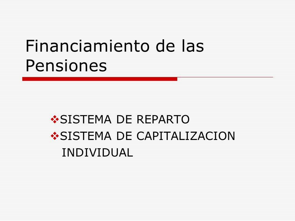 Financiamiento de las Pensiones SISTEMA DE REPARTO SISTEMA DE CAPITALIZACION INDIVIDUAL