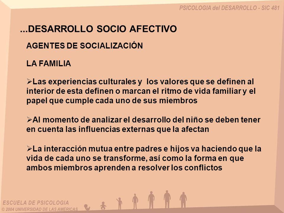 ...DESARROLLO SOCIO AFECTIVO Las experiencias culturales y los valores que se definen al interior de esta definen o marcan el ritmo de vida familiar y