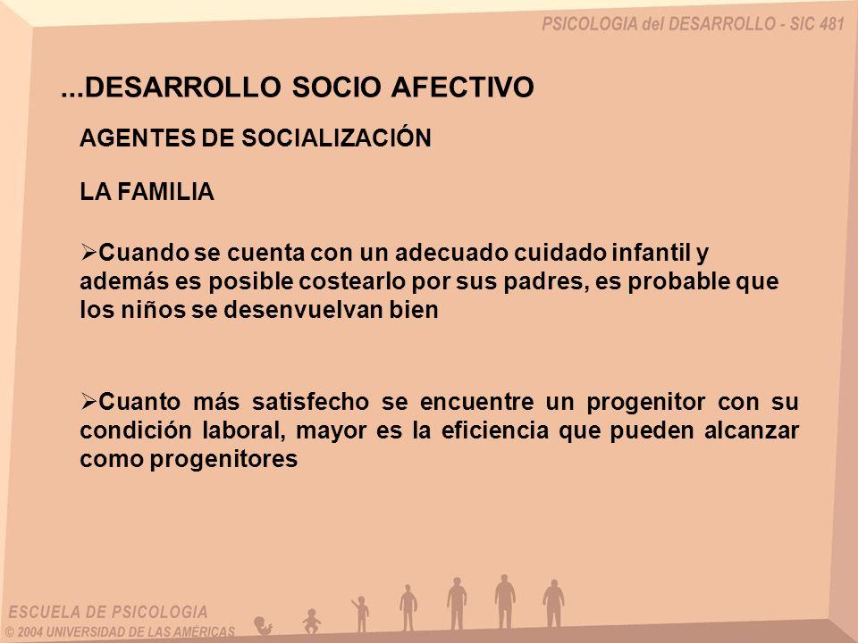 ...DESARROLLO SOCIO AFECTIVO Cuando se cuenta con un adecuado cuidado infantil y además es posible costearlo por sus padres, es probable que los niños