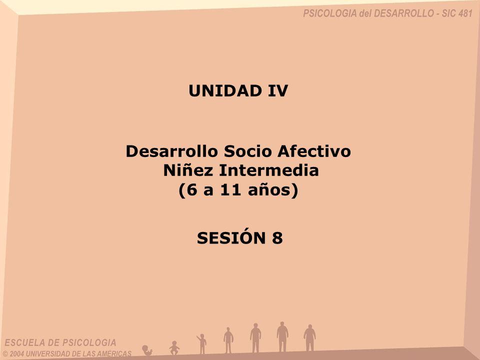 Desarrollo Socio Afectivo Niñez Intermedia (6 a 11 años) UNIDAD IV SESIÓN 8
