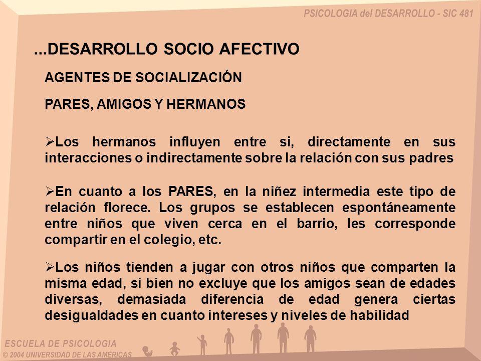 ...DESARROLLO SOCIO AFECTIVO AGENTES DE SOCIALIZACIÓN PARES, AMIGOS Y HERMANOS Los hermanos influyen entre si, directamente en sus interacciones o ind