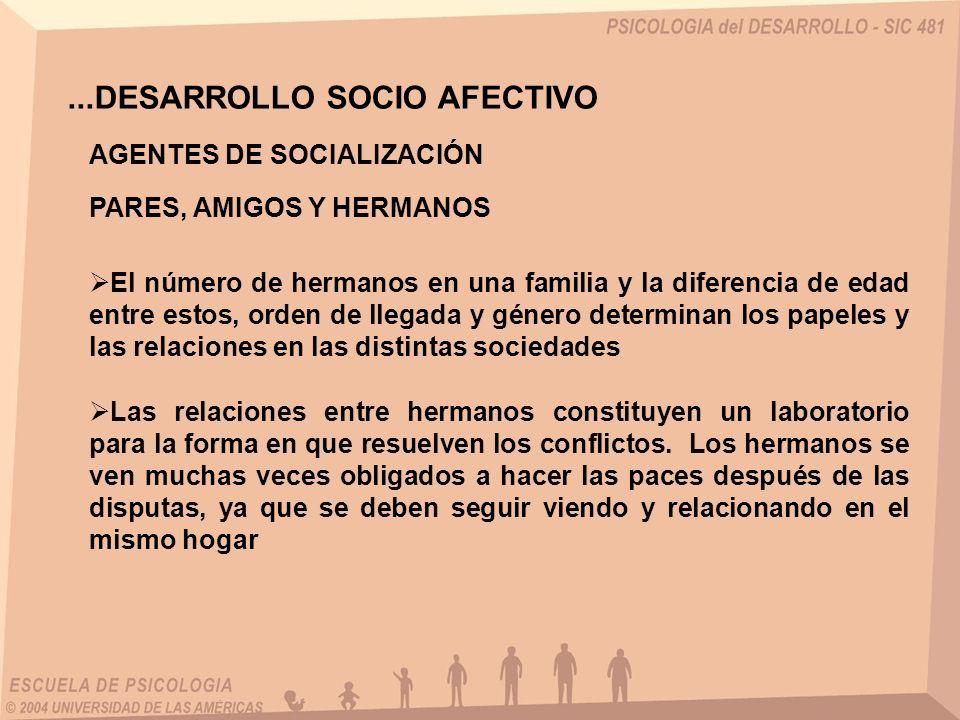 ...DESARROLLO SOCIO AFECTIVO AGENTES DE SOCIALIZACIÓN PARES, AMIGOS Y HERMANOS El número de hermanos en una familia y la diferencia de edad entre esto