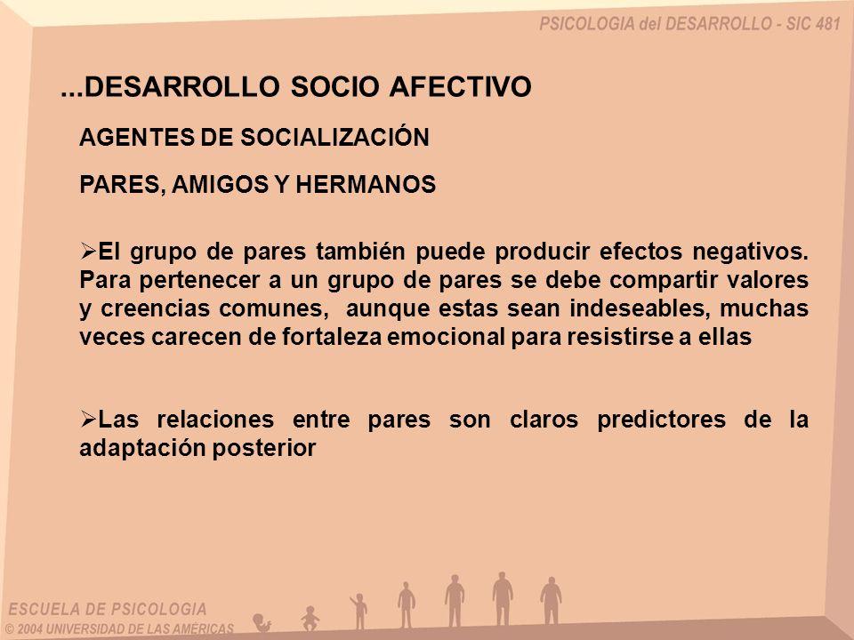 ...DESARROLLO SOCIO AFECTIVO AGENTES DE SOCIALIZACIÓN PARES, AMIGOS Y HERMANOS El grupo de pares también puede producir efectos negativos. Para perten