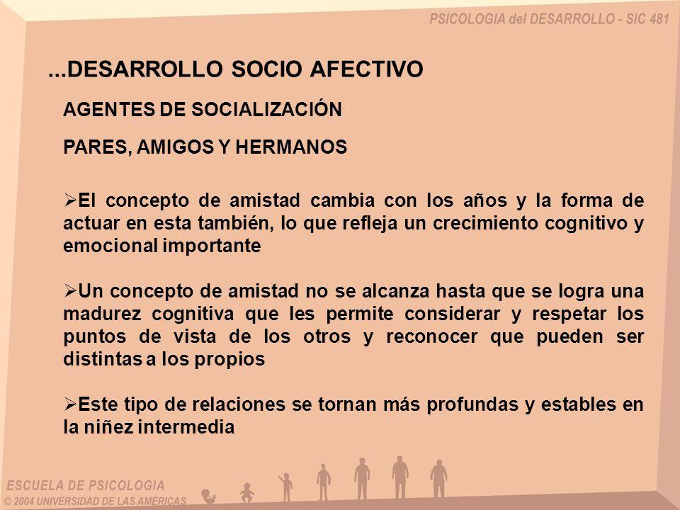 ...DESARROLLO SOCIO AFECTIVO AGENTES DE SOCIALIZACIÓN PARES, AMIGOS Y HERMANOS El concepto de amistad cambia con los años y la forma de actuar en esta