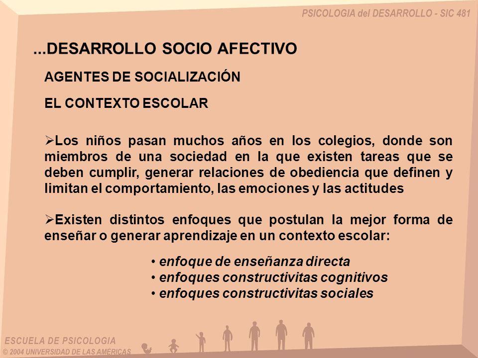 ...DESARROLLO SOCIO AFECTIVO AGENTES DE SOCIALIZACIÓN EL CONTEXTO ESCOLAR Los niños pasan muchos años en los colegios, donde son miembros de una socie