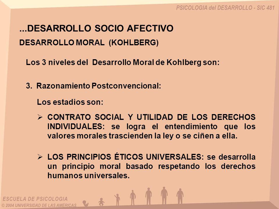 ...DESARROLLO SOCIO AFECTIVO DESARROLLO MORAL (KOHLBERG) Los 3 niveles del Desarrollo Moral de Kohlberg son: Los estadios son: CONTRATO SOCIAL Y UTILI