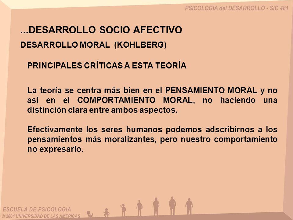 ...DESARROLLO SOCIO AFECTIVO DESARROLLO MORAL (KOHLBERG) PRINCIPALES CRÍTICAS A ESTA TEORÍA La teoría se centra más bien en el PENSAMIENTO MORAL y no