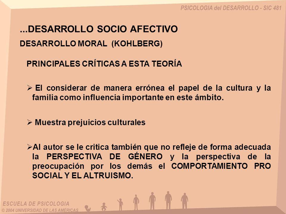 ...DESARROLLO SOCIO AFECTIVO DESARROLLO MORAL (KOHLBERG) PRINCIPALES CRÍTICAS A ESTA TEORÍA El considerar de manera errónea el papel de la cultura y l