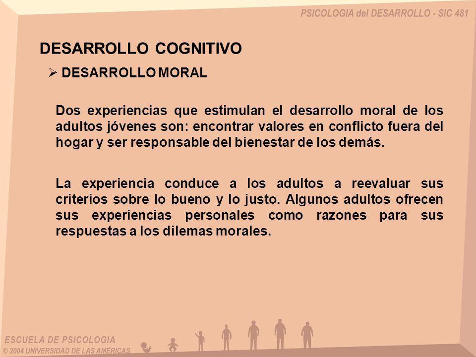 DESARROLLO COGNITIVO Dos experiencias que estimulan el desarrollo moral de los adultos jóvenes son: encontrar valores en conflicto fuera del hogar y s