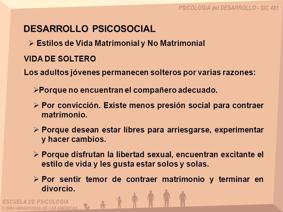 VIDA DE SOLTERO Estilos de Vida Matrimonial y No Matrimonial Los adultos jóvenes permanecen solteros por varias razones: DESARROLLO PSICOSOCIAL Porque