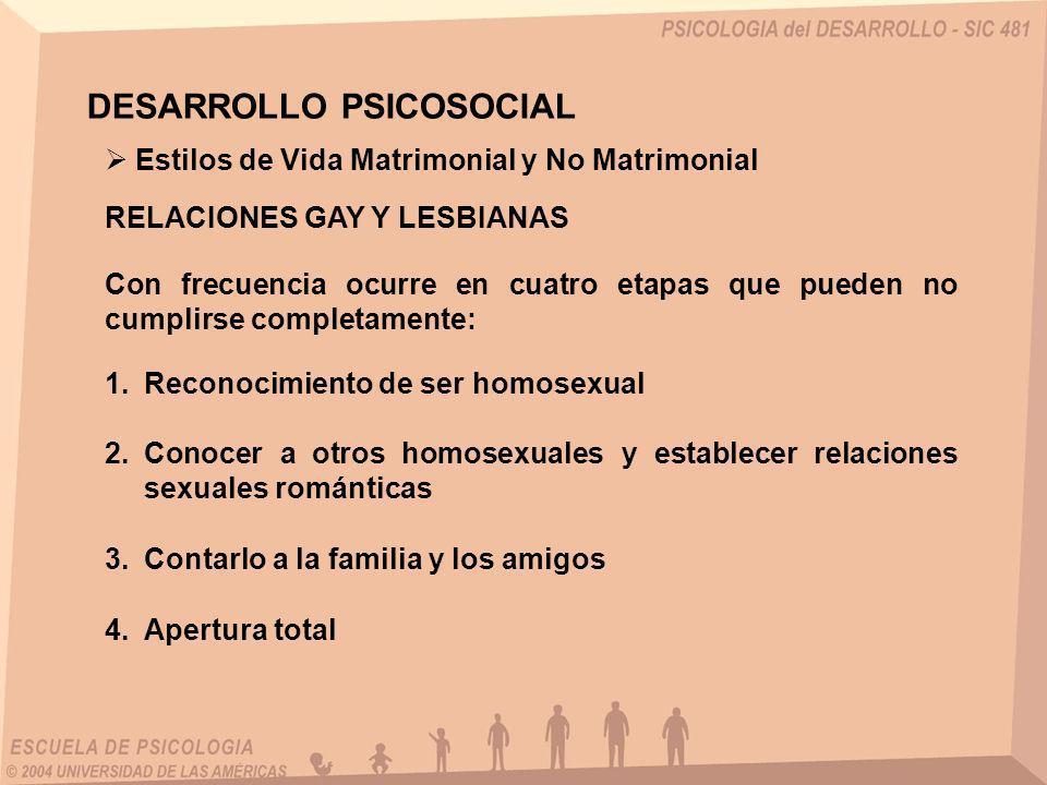 RELACIONES GAY Y LESBIANAS Estilos de Vida Matrimonial y No Matrimonial DESARROLLO PSICOSOCIAL Con frecuencia ocurre en cuatro etapas que pueden no cu