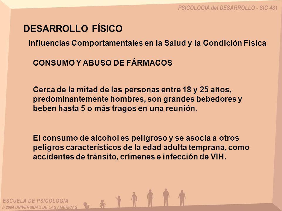 DESARROLLO FÍSICO El alcohol también se asocia en muertes por ahogamiento, suicidio, incendio y caídas.