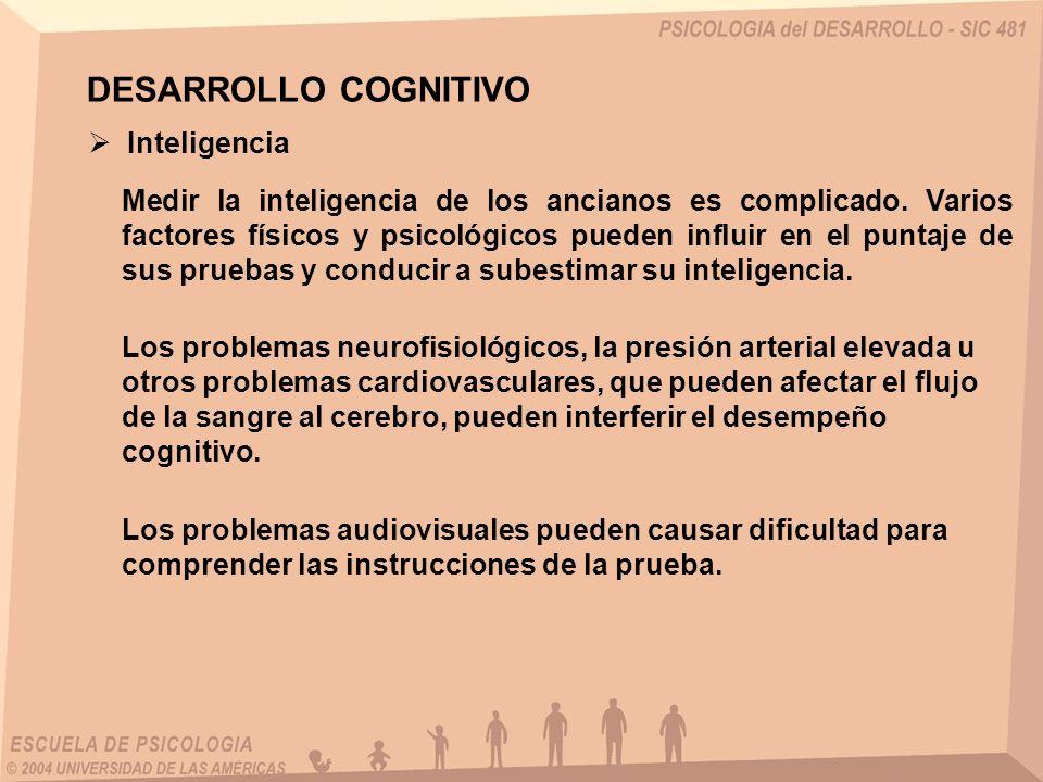 DESARROLLO COGNITIVO Inteligencia Medir la inteligencia de los ancianos es complicado. Varios factores físicos y psicológicos pueden influir en el pun