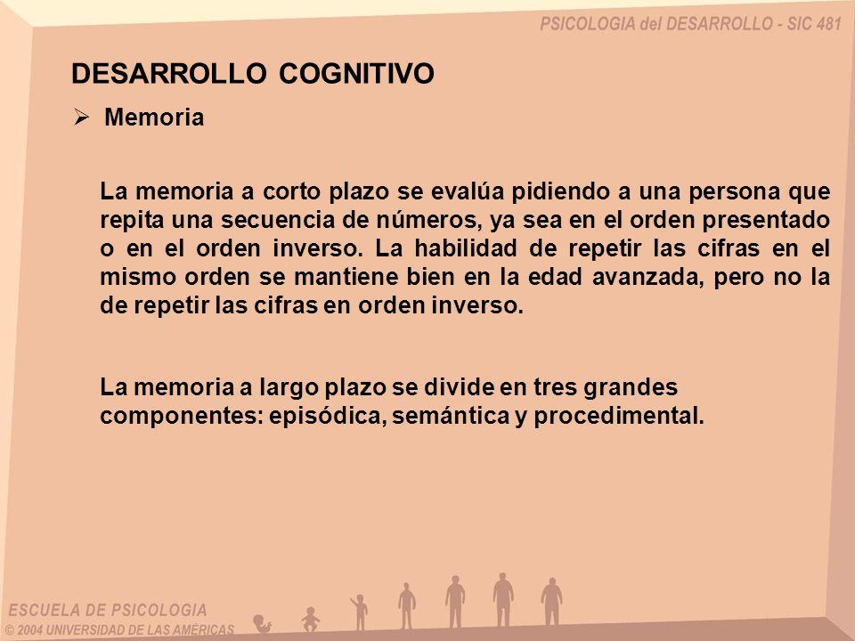 Memoria La memoria a corto plazo se evalúa pidiendo a una persona que repita una secuencia de números, ya sea en el orden presentado o en el orden inv