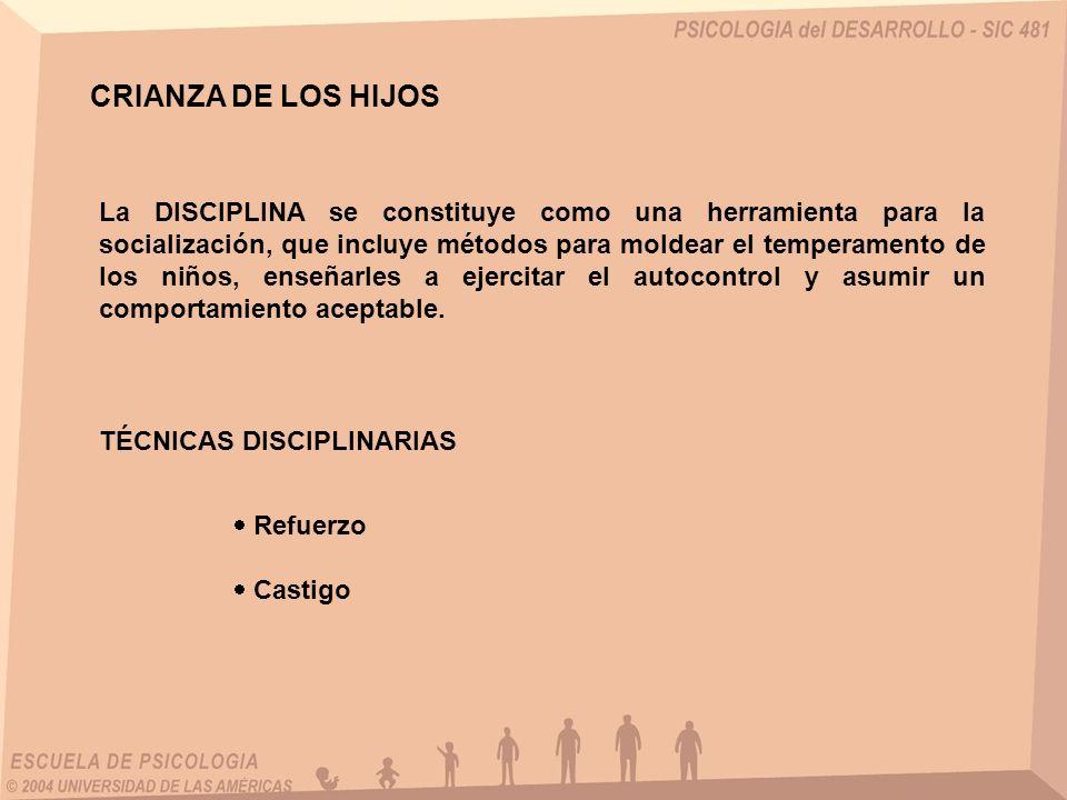CRIANZA DE LOS HIJOS La DISCIPLINA se constituye como una herramienta para la socialización, que incluye métodos para moldear el temperamento de los n