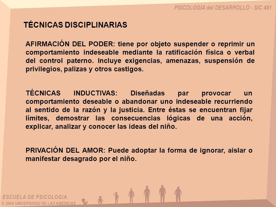 TÉCNICAS DISCIPLINARIAS AFIRMACIÓN DEL PODER: tiene por objeto suspender o reprimir un comportamiento indeseable mediante la ratificación física o ver