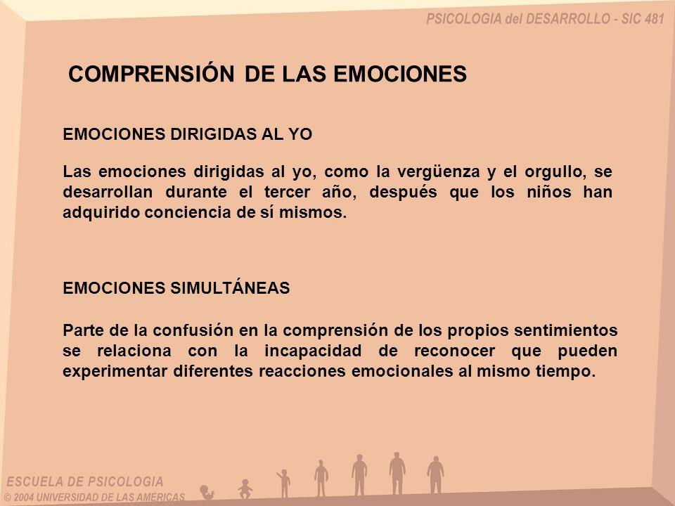 EMOCIONES DIRIGIDAS AL YO COMPRENSIÓN DE LAS EMOCIONES Las emociones dirigidas al yo, como la vergüenza y el orgullo, se desarrollan durante el tercer
