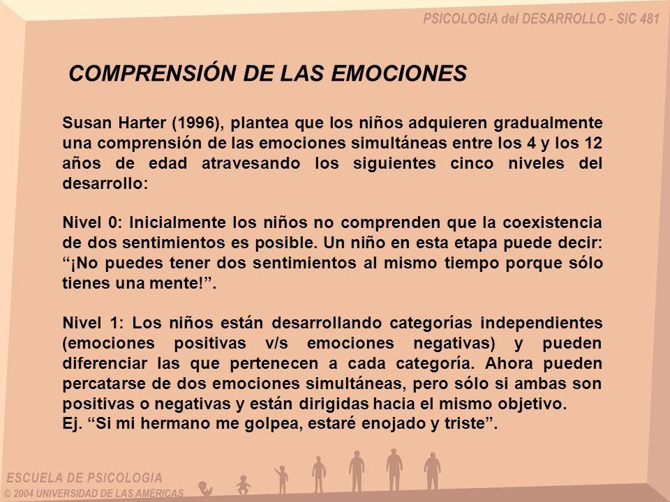 Susan Harter (1996), plantea que los niños adquieren gradualmente una comprensión de las emociones simultáneas entre los 4 y los 12 años de edad atrav