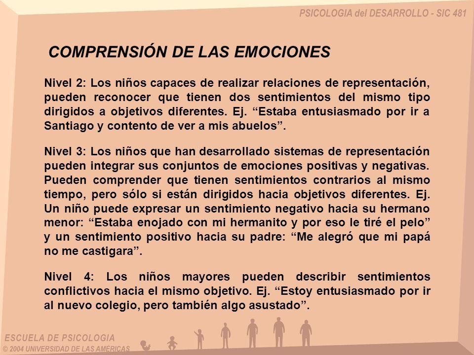 Nivel 2: Los niños capaces de realizar relaciones de representación, pueden reconocer que tienen dos sentimientos del mismo tipo dirigidos a objetivos