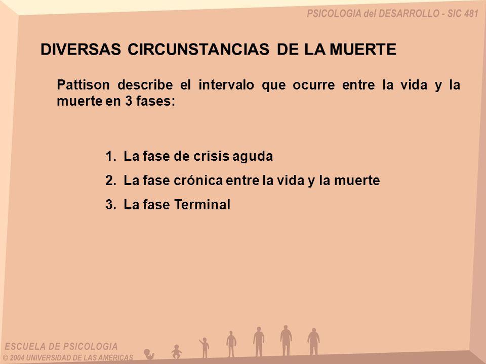 DIVERSAS CIRCUNSTANCIAS DE LA MUERTE Pattison describe el intervalo que ocurre entre la vida y la muerte en 3 fases: 1.La fase de crisis aguda 2.La fa