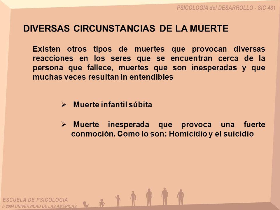 DIVERSAS CIRCUNSTANCIAS DE LA MUERTE Existen otros tipos de muertes que provocan diversas reacciones en los seres que se encuentran cerca de la person