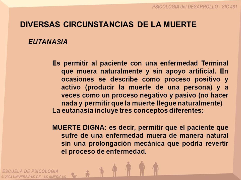 DIVERSAS CIRCUNSTANCIAS DE LA MUERTE EUTANASIA Es permitir al paciente con una enfermedad Terminal que muera naturalmente y sin apoyo artificial. En o