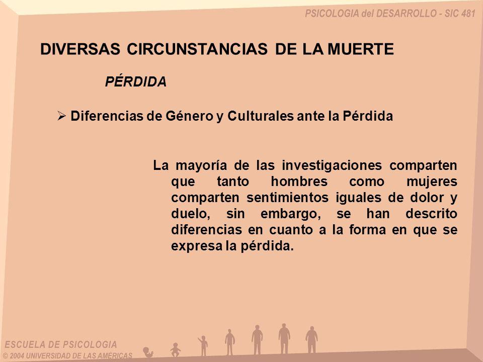 DIVERSAS CIRCUNSTANCIAS DE LA MUERTE Diferencias de Género y Culturales ante la Pérdida PÉRDIDA La mayoría de las investigaciones comparten que tanto