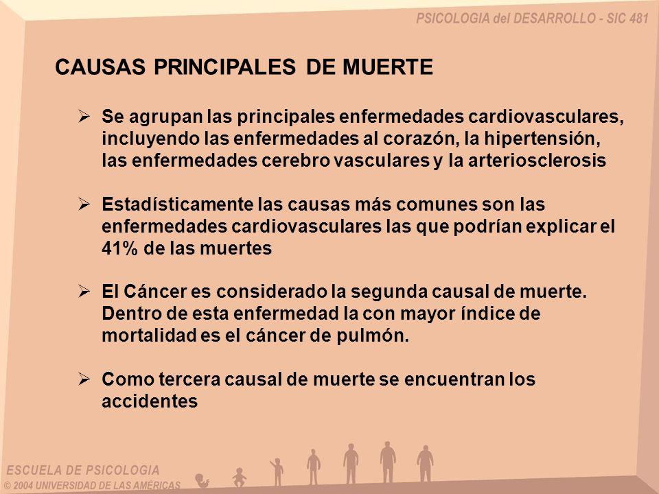CAUSAS PRINCIPALES DE MUERTE Se agrupan las principales enfermedades cardiovasculares, incluyendo las enfermedades al corazón, la hipertensión, las en