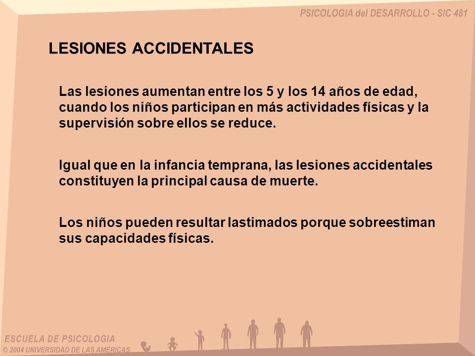 LESIONES ACCIDENTALES Las lesiones aumentan entre los 5 y los 14 años de edad, cuando los niños participan en más actividades físicas y la supervisión