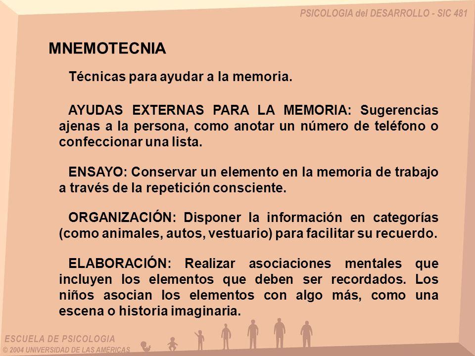 Técnicas para ayudar a la memoria. MNEMOTECNIA AYUDAS EXTERNAS PARA LA MEMORIA: Sugerencias ajenas a la persona, como anotar un número de teléfono o c