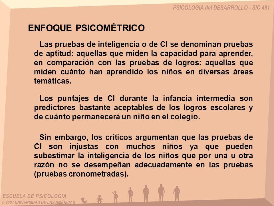 Las pruebas de inteligencia o de CI se denominan pruebas de aptitud: aquellas que miden la capacidad para aprender, en comparación con las pruebas de