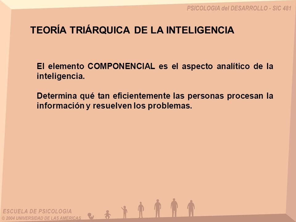 El elemento COMPONENCIAL es el aspecto analítico de la inteligencia. Determina qué tan eficientemente las personas procesan la información y resuelven