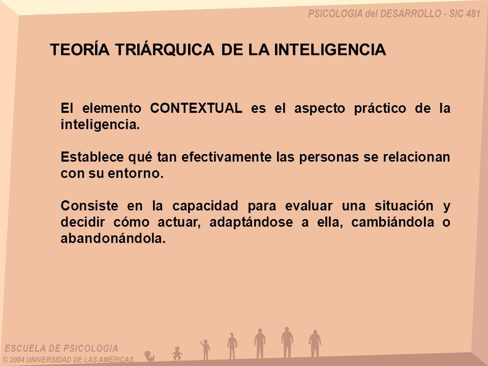 TEORÍA TRIÁRQUICA DE LA INTELIGENCIA El elemento CONTEXTUAL es el aspecto práctico de la inteligencia. Establece qué tan efectivamente las personas se