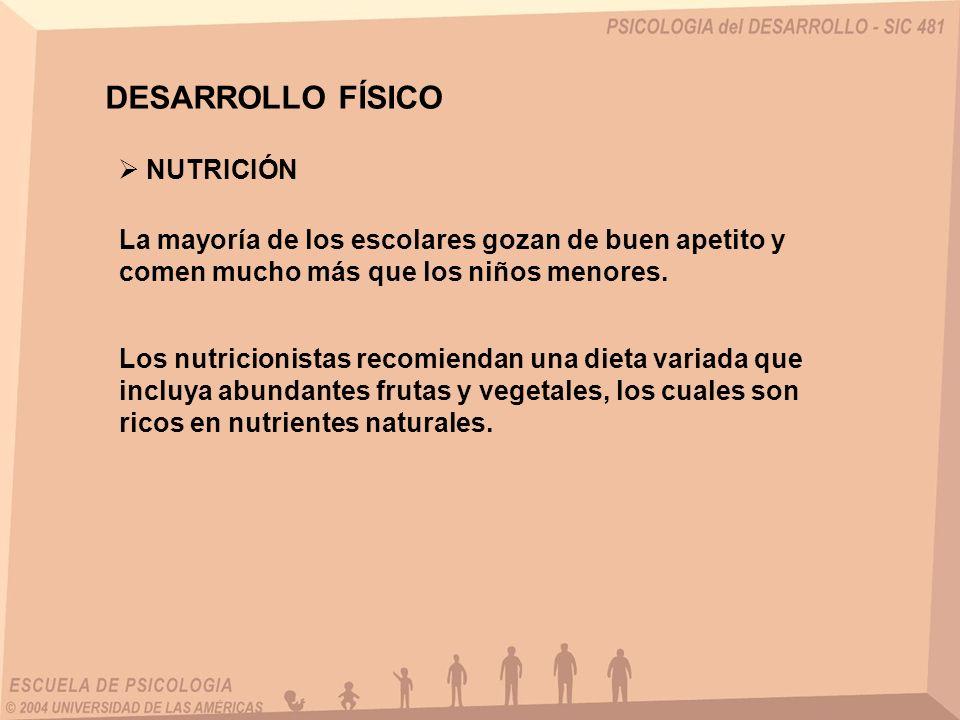 DESARROLLO FÍSICO NUTRICIÓN La mayoría de los escolares gozan de buen apetito y comen mucho más que los niños menores. Los nutricionistas recomiendan