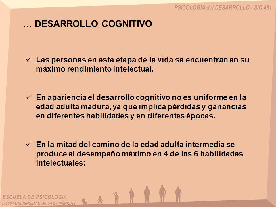… DESARROLLO COGNITIVO Las personas en esta etapa de la vida se encuentran en su máximo rendimiento intelectual. En apariencia el desarrollo cognitivo