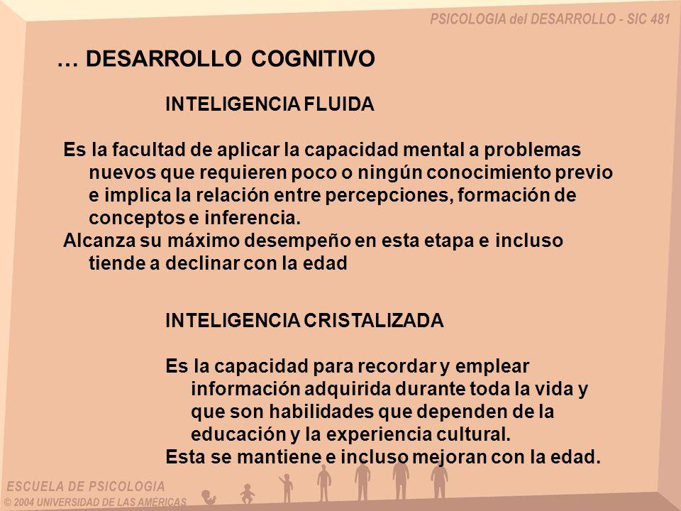 … DESARROLLO COGNITIVO INTELIGENCIA FLUIDA Es la facultad de aplicar la capacidad mental a problemas nuevos que requieren poco o ningún conocimiento previo e implica la relación entre percepciones, formación de conceptos e inferencia.