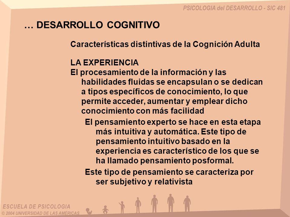 … DESARROLLO COGNITIVO Características distintivas de la Cognición Adulta LA EXPERIENCIA El procesamiento de la información y las habilidades fluidas