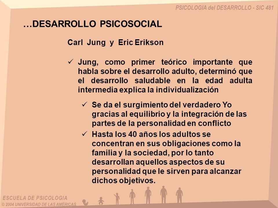 Carl Jung y Eric Erikson Jung, como primer teórico importante que habla sobre el desarrollo adulto, determinó que el desarrollo saludable en la edad a