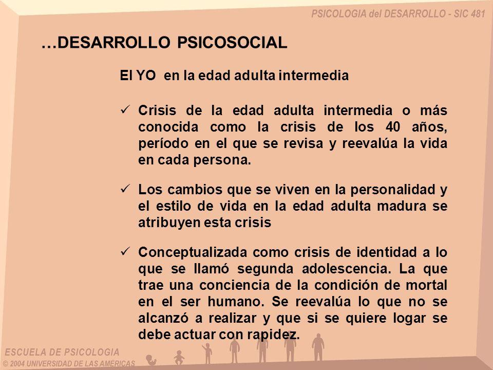 El YO en la edad adulta intermedia Crisis de la edad adulta intermedia o más conocida como la crisis de los 40 años, período en el que se revisa y ree