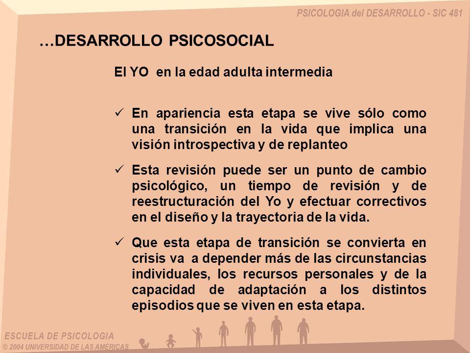 El YO en la edad adulta intermedia …DESARROLLO PSICOSOCIAL En apariencia esta etapa se vive sólo como una transición en la vida que implica una visión