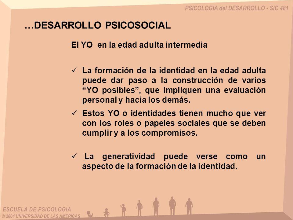 El YO en la edad adulta intermedia …DESARROLLO PSICOSOCIAL La formación de la identidad en la edad adulta puede dar paso a la construcción de varios YO posibles, que impliquen una evaluación personal y hacia los demás.