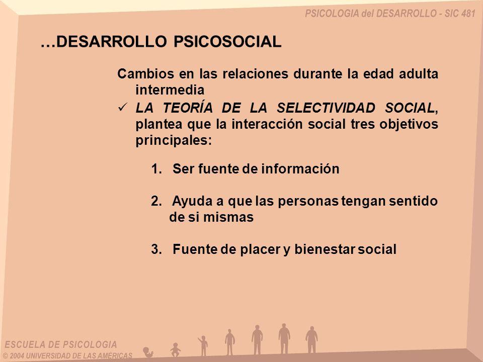 Cambios en las relaciones durante la edad adulta intermedia …DESARROLLO PSICOSOCIAL LA TEORÍA DE LA SELECTIVIDAD SOCIAL, plantea que la interacción social tres objetivos principales: 1.