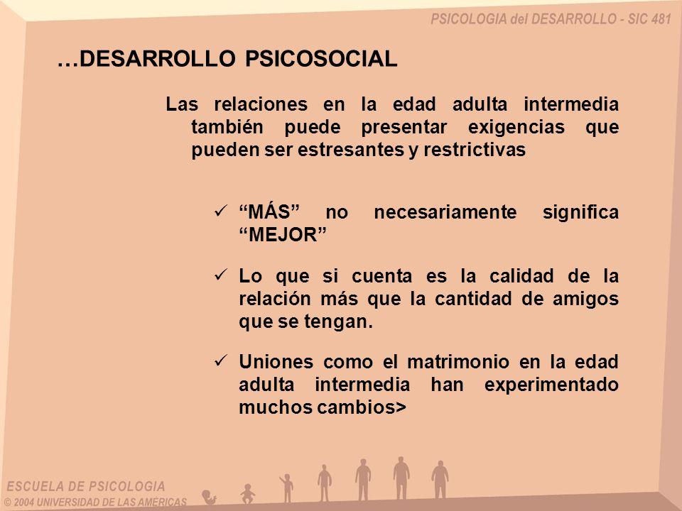 Las relaciones en la edad adulta intermedia también puede presentar exigencias que pueden ser estresantes y restrictivas …DESARROLLO PSICOSOCIAL MÁS n
