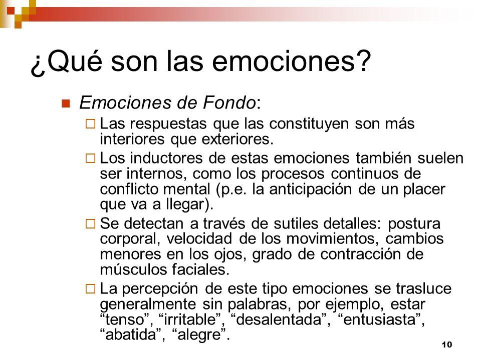 10 ¿Qué son las emociones? Emociones de Fondo: Las respuestas que las constituyen son más interiores que exteriores. Los inductores de estas emociones