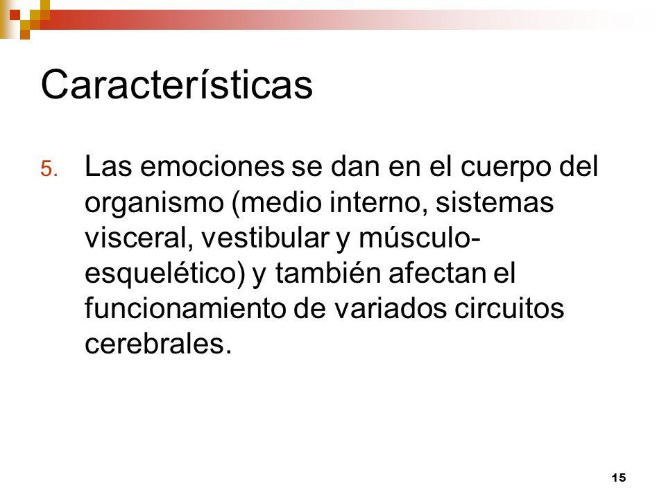 15 Características 5. Las emociones se dan en el cuerpo del organismo (medio interno, sistemas visceral, vestibular y músculo- esquelético) y también