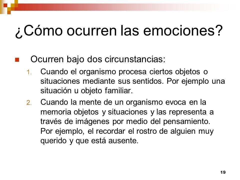 19 ¿Cómo ocurren las emociones? Ocurren bajo dos circunstancias: 1. Cuando el organismo procesa ciertos objetos o situaciones mediante sus sentidos. P