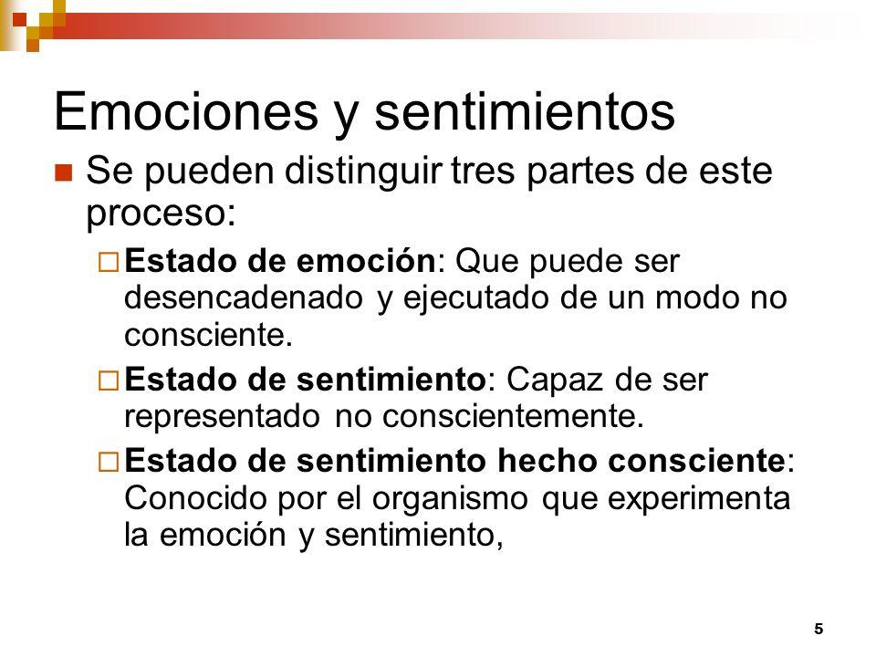 5 Emociones y sentimientos Se pueden distinguir tres partes de este proceso: Estado de emoción: Que puede ser desencadenado y ejecutado de un modo no