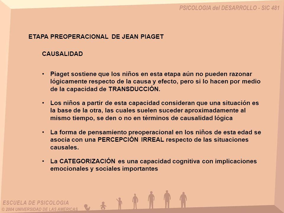 ETAPA PREOPERACIONAL DE JEAN PIAGET CAUSALIDAD Piaget sostiene que los niños en esta etapa aún no pueden razonar lógicamente respecto de la causa y ef