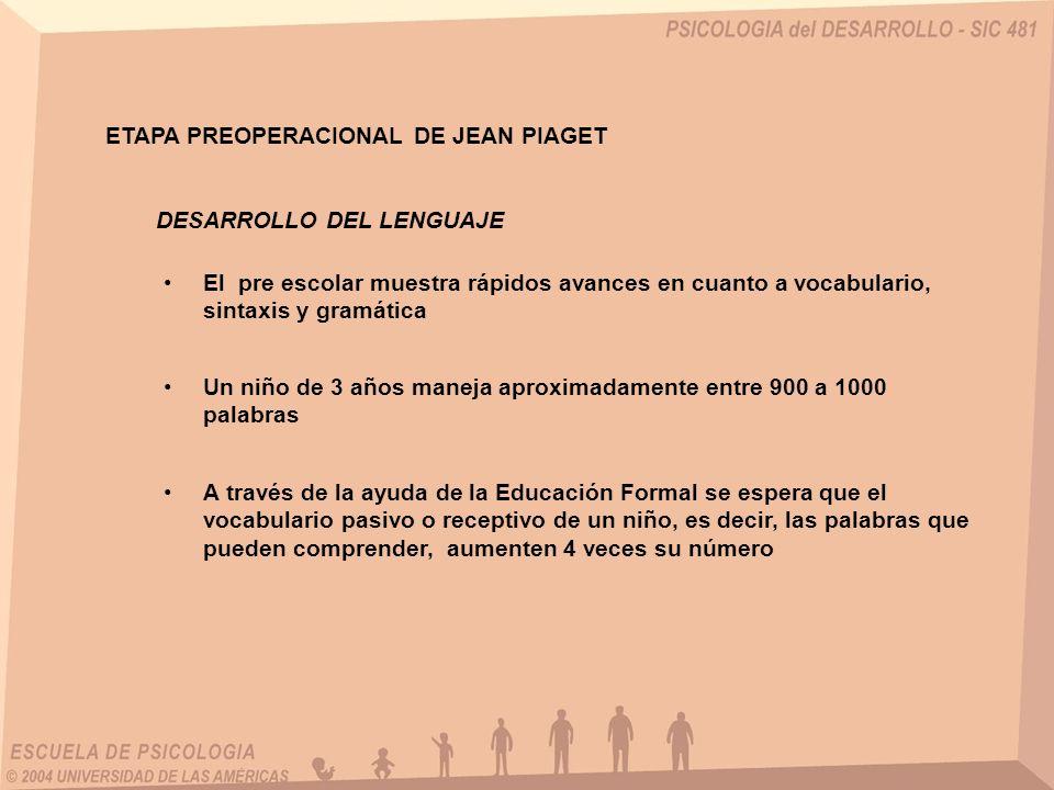 ETAPA PREOPERACIONAL DE JEAN PIAGET DESARROLLO DEL LENGUAJE El pre escolar muestra rápidos avances en cuanto a vocabulario, sintaxis y gramática Un ni